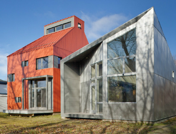 The R-House and TED House are two examples of homes with successfully implemented home energy saving ideas.  Source: Houzz